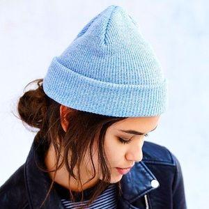 Light blue knit beanie